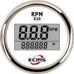 Цифровий тахометр з лічильником мотогодин ECMS (білий)